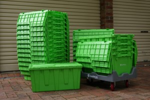 A stack of BeetleBoxe eco removal boxes on a dolly