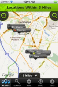 Screenshot of Berry Hunters App showing fruit tree locations in Cambridge